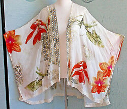 Chicos Sheer Beach Coverup Crochet Swim Wrap Poncho Open Front One Size $4.95