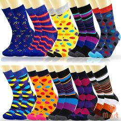6 12 Pairs Mens Colorful Funky Casual Dress Novelty Wedding Cotton Socks Argyle $16.99