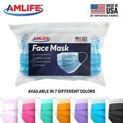 Amlife Disposable Face Masks 3 Ply Mask Multi Color Made in USA Imported Fabric