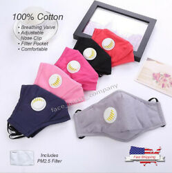 100% COTTON Cloth FACE MASK Reusable Washable ADJUSTABLE with Air Valve Filter $7.49