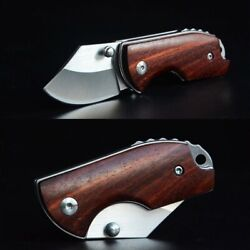Outdoor Small Pocket Knife Steel Mini Folding Knives Red Wood Handle EDC NS35 $14.00