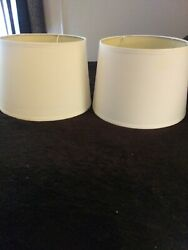 2 WHITE SNOW DRUM LAMP SHADES FABRIC $20.00
