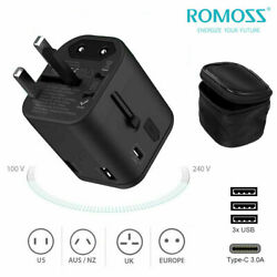 Universal Travel Adapter Wall Charger Power Plug with 3 USB Ports amp; 3A Type C PD $8.39
