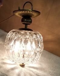 Vintage Heavy Glass Hanging Globe Light 25quot; Around 12quot; Tall $35.99