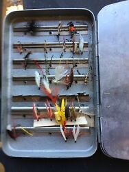 Vintage Perrine Sterling Quality Aluminum Fly Tackle Box Approximately 27 Flies $35.00