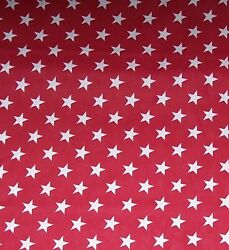 Patriotic White Stars on Red Fabric by Yards 100% Cotton $5.79