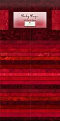 Jelly Roll Ruby Days Red Shades Cotton Fabric Wilmington Gems 40 Strips 2.5quot; $34.00