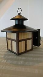 EXTERIOR Light Fixture ARTS CRAFTS Mission SCONCE Rustic BRONZE Stain glass lodg