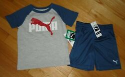 Puma Little Boys Shorts Shirt Set Outfit Gray Blue Baby Toddler 2T 3T 4T NWT $12.99