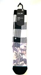 STANCE MEN#x27;S CLASSIC FLORAL CHECKERED CREW HEIGHT SOCKS Black White Large 9 12 $19.88