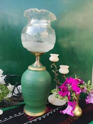 Vintage bedroom decor table lamp ceramic and glass table lamp $50.00