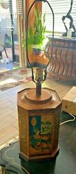 VTG FREDERICK COOPER ASIAN ARTSY TIN CANISTER ACCENT TABLE LAMP WORKS $75.00