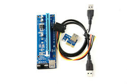 Lot of 7 PCI E Riser Mining VER 006C with Molex Adapter US Seller Fast S... $18.97