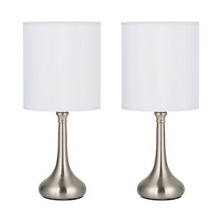 Modern Desk Lamp White Fabric Linen Shade Sand Nickel Mental Base Set of 2 Lamps $28.88