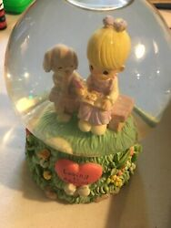 Precious Moments 2000 Musical Snow Globe quot;Puppy Lovequot; Girl amp; Pet on bench $24.99