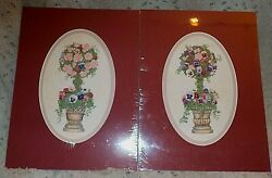 Pair of pansies amp; roses topiary art prints by Bambi Papais oval mats 12quot; x 16quot; $14.00