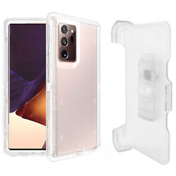 Clear White For Samsung Galaxy Note 20 Ultra Defender Case w Clip Fits Otterbox $9.99