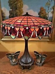 Handel Arts Crafts Mission Antique Slag Glass Leaded Lamp bradley hubbard era $3500.00