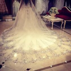 Women Vintage White Ivory 3M 1T Wedding Veil Crystal Beaded Cathedral Long Lace $36.79