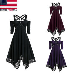 Women#x27;s Gothic Dress Steampunk Lace Costume Irregular Swing Medieval Strappy Hal