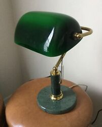 Vintage Brass Bankers Lamp Green Shade w Marble Base $59.00