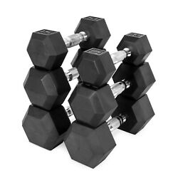 NEW CAP COATED RUBBER HEX DUMBBELLS select weight 5 10 12 15 20 30 35 40 $104.99