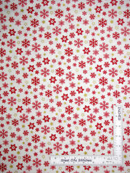 Christmas Red Gold Snowflake Star Cotton Fabric Windham Sparkle By The Yard $9.95