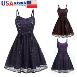 Women Skull Printed Gothic Dress Lace Up Vintage Steampunk Halloween Swing Dress