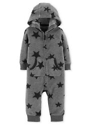 CARTER#x27;S 1PC STAR BOYS HOODED FLEECE JUMPSUIT COVERALL ROMPER OUTFIT 18M CLOTHES $9.99