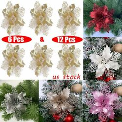 6 12 Pcs 6quot; Glitter Christmas Flower Tree Hanging Ornaments Festival Xmas Decor