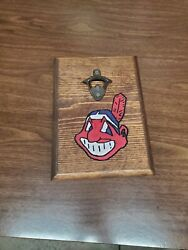 Indians Bottle Opener Routed Painted And Stained Hanging Sign $17.50