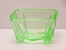VINTAGE DEPRESSION URANIUM GREEN GLASS SALT CELLAR $14.00