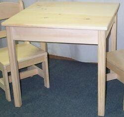 CHILD#x27;S TABLE only NO CHAIRS SQUARE TOP UNFINISHED PINE WOOD HAND MADE IN USA $60.00