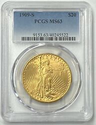 1909 S $20 Saint Gaudens Gold Double Eagle Pre 33 PCGS MS63 Choice For The Grade $2697.55
