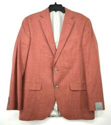 Jack Victor Mens Conway Red Sharkskin 2 Button Notch Lapel Sport Coat $745 42L $215.99