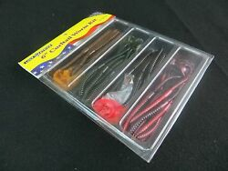 LUCK E STRIKE 47 PIECE CURLTAIL WORM KIT 6quot; CURLY TAIL WORM BASS FISHING $14.99