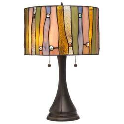 Serena d#x27;italia Tiffany style Drum Contemporary Table Lamp 14quot; Shade $118.98