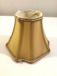 Small Bell Lamp Shade Clip On Gold Fabric 5quot;x3quot;x6quot; $14.44
