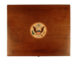 Inlaid Bald Eagle Presidential Antique Nightstand Federal Side End Table Walnut $28000.00