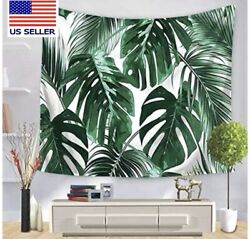 Psychedelic Tapestry Wall Tapestry Palm Tree Green Leaves Tropical Wall Bedroom $13.99