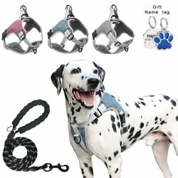 Reflcetive Dog Harness Mesh Vest Leash amp;Dog Tag Adjustable Extra Large Meidum $13.99