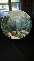 Gold Mining Pan Hand Painted Mountain Lake Scene Signed by Artist 11quot; $25.00