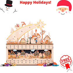 Wooden Christmas Shooting Star Advent Calendar Battery Operated LED Light Back $55.99