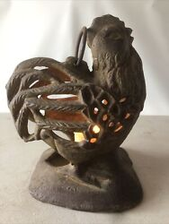 """Mid Century Modern MCM Cast Iron Rooster Hen Hanging Candle Lantern Holder 7"""" $129.99"""