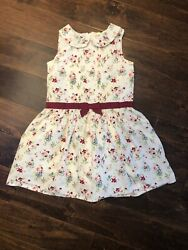 EUC Hope amp; Henry Girls White Floral Peter Pan Collar Cotton Dress Size 8 $14.99