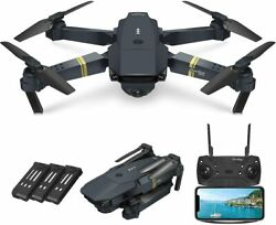 Quadcopter Drone With HD Camera Selfie WiFi FPV Foldable RC 3 Batteries 120° FOV $149.95