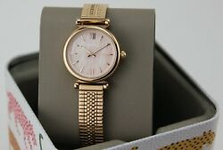 NEW AUTHENTIC FOSSIL CARLIE MINI ROSE GOLD PINK MOP MESH WOMEN#x27;S ES4697 WATCH $54.99