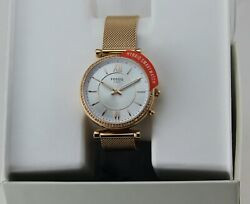 NEW AUTHENTIC FOSSIL CARLIE ROSE GOLD HYBRID SMARTWATCH MESH WOMEN FTW5060 WATCH $79.99