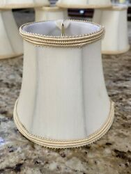"7 Cream  Mini Chandelier Lamp Shade Clip On Bell Softback 4""x5""x3"" on top. $30.00"