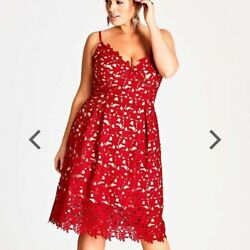 City Chic so fancy fit and flare dress size 16 NWT floral lace red party Plus $65.00